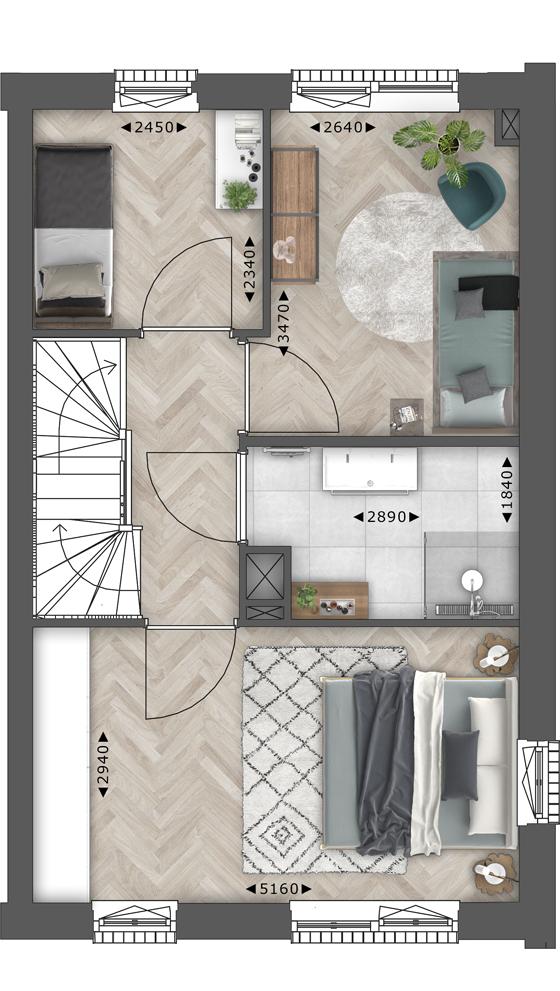 de Oude Dee Bouwnummer 15 - verdieping 1 plattegrond