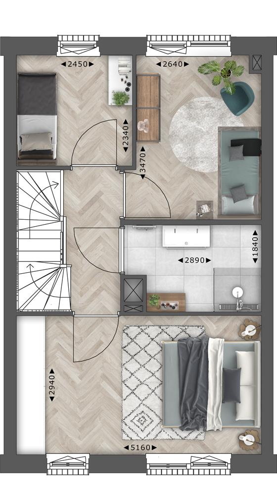 de Oude Dee Bouwnummer 12 - verdieping 1 plattegrond